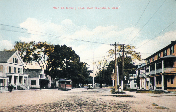 East Main Street with Trolly - Early 1900's